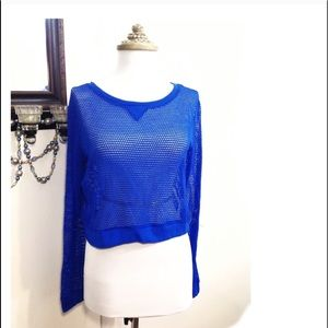 City Streets Royal Cobalt Blue Fishnet Cropped Top